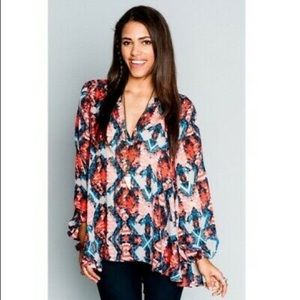 MUMU Red Floral Jamie Tunic Top Long Sleeve Lined